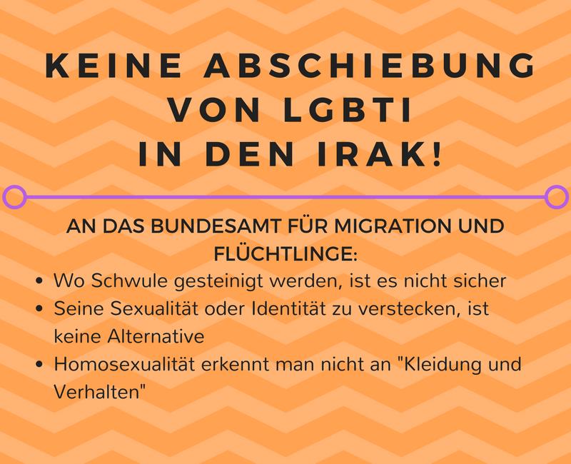 Petition gegen Abschiebung von schwulen Irakern